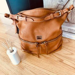 Dooney & Bourke Tan Pebble Leather Strap Hobo Bag